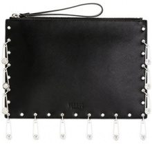 Versus - pin embellished clutch - women - Calf Leather - OS - BLACK
