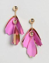 ASOS - Orecchini appariscenti con petali colorati in metallo - Oro