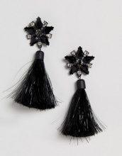 ASOS Black - Orecchini con pietre e nappine brillanti - Nero