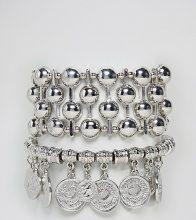 Sacred Hawk - Confezione di bracciali con sfere e monete - Argento