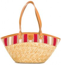 Il Bisonte - straw handle bag - women - Straw/Cotton/Leather - OS - BROWN