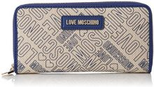 Love Moschino Portafogli Canvas Naturale+pu Blu - Pochette da giorno Donna, Multicolore (Natural Canvas-blue), 3x10x20 cm (B x H T)