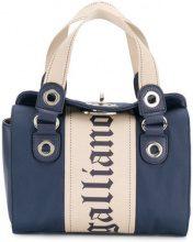 John Galliano - logo print mini bag - women - Polyester/Leather/Cotton - OS - BLUE