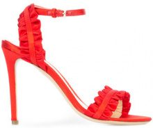 Monique Lhuillier - ruffle detail stiletto sandals - women - Satin/Leather - 36, 37, 37.5, 38, 38.5, 39, 39.5, 40 - RED