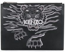 Kenzo - Clutch ricamata Tiger - women - Leather/Nylon/Cotton - One Size - BLACK