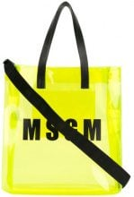 MSGM - sheer logo tote - women - PVC/Leather - OS - YELLOW & ORANGE