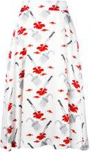 Olympia Le-Tan - Gonna stampata 'Judy' - women - viscose - 36 - WHITE