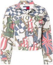 Tommy Jeans - flag print denim jacket - women - Cotton - XS, L - WHITE