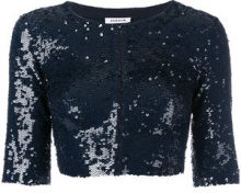 - P.A.R.O.S.H. - sequins embellished cropped jacket - women - PVC/Sequin/Spandex/Elastane/Polyamide - S - di colore blu