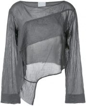 Lost & Found Rooms - long-sleeve draped blouse - women - Cotton - XXS, XS, S, M, L - GREY