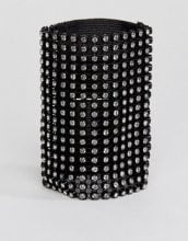 Monki - Bracciale largo con strass - Nero