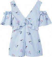 FIND Monopezzo Corto Fiori Donna , Blu (Blue Stripe Floral), 46 (Taglia Produttore: Large)