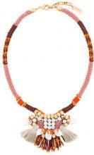 Radà - Collana con perline e nappina - women - glass/Brass/Polyester/Silk - OS - Giallo & arancio