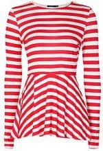 Anna Contrast Long Sleeve Stripe Peplum
