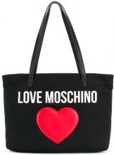 Love Moschino - heart embellished logo tote - women - Cotton/Polyurethane - OS - BLACK