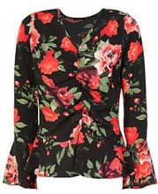 Katie Floral Ruched Front Peplum Top