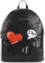 Love Moschino - Zaino con applicazioni ricamate - women - Polyurethane - OS - BLACK