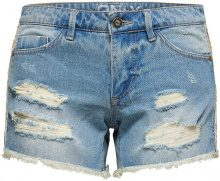ONLY Carrie Low Destroyed Denim Shorts Women Blue