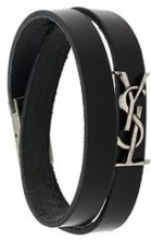 Saint Laurent - Bracciale a doppio giro con monogramma - women - Leather - M, L, S - Nero