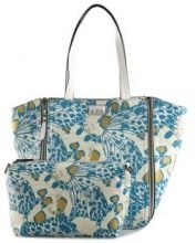 Borsa Shopping Y Not?  Borsa donna  - shopping reversibile blu e bianca K46