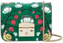 Furla - Borsa a tracolla con motivo fragole 'Metropolis' - women - Leather/Viscose/Nylon - OS - GREEN