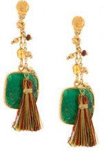 Gas Bijoux - Orecchini 'Serti Pondicherie' - women - 24kt Gold Plate/Pietra/Lurex/Silk - OS - GREEN