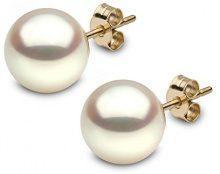 Kimura Pearls 18 carati oro giallo Rotonda Rotonda perla cinesa da coltivazione bianco Perla