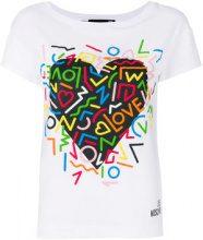 Love Moschino - heart print T-shirt - women - Cotton/Spandex/Elastane - 38, 40, 42, 44 - WHITE
