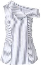 Pinko - one-shoulder striped top - women - Cotton - 40 - WHITE