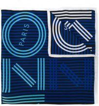 Kenzo - Foulard con logo a righe - women - Silk - OS - BLUE
