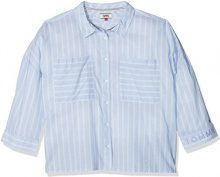 Tommy Jeans Donna Tommy Shirt Camicia Maniche a 3/4 elastico in vita Blu (Aqua Foam / Serenity 902) X-Small