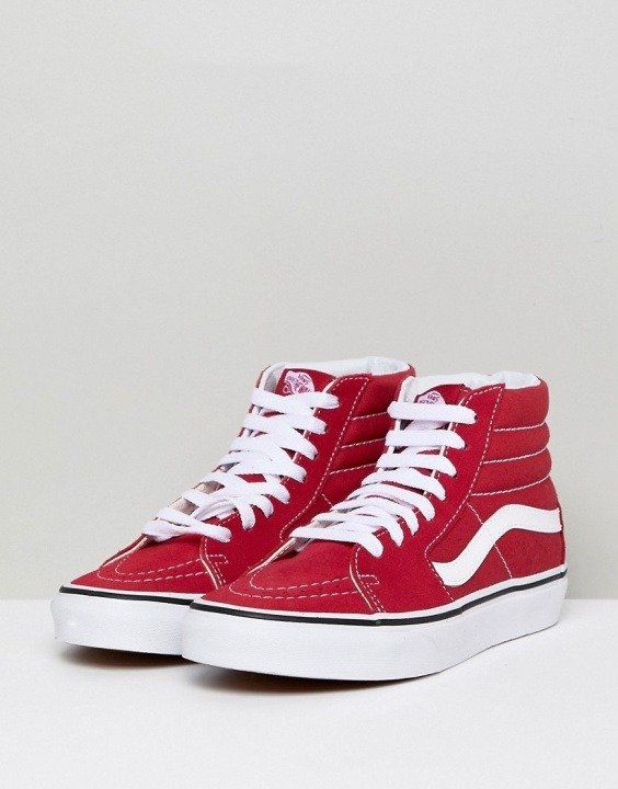scarpe vans alte rosse