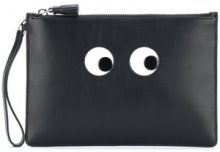 Anya Hindmarch - Eyes zip pouch - women - Calf Leather - OS - Nero