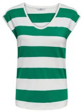 ONLY Striped Short Sleeved Top Women Green