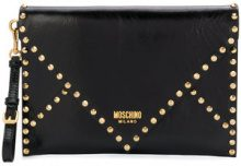 Moschino - studded envelope clutch - women - Leather - OS - BLACK
