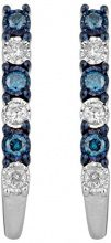 Jewelili Donna 925 argento Rotonda blu Diamante