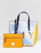 Tommy Hilfiger - Maxi borsa con logo multi e astuccio - Multicolore