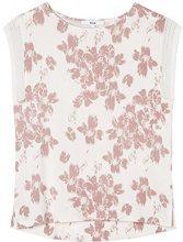 FIND Floral Print T-Shirt Donna, Viola (Mauve/White), 44 (Taglia Produttore: Medium)