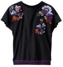 T-shirt con ricamo floreale