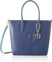 Trussardi Jeans Ischia Shopping, Borsa a Spalla Donna, Blu (Blue/Green), 41x32x16 cm (W x H x L)