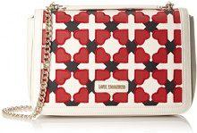 Love Moschino Borsa Pu Avorio/nero/rosso - Borse a spalla Donna, Multicolore (Ivory-black-red), 6x20x30 cm (B x H T)