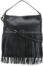 Twin-Set - fringed hobo bag - women - Calf Leather/Polyester - OS - BLACK