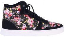 Sneakers imbottite mid-top con motivo a fiori