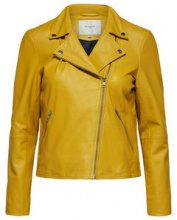 SELECTED Lamb - Leather Jacket Women Yellow