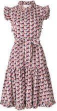 La Doublej - ruffle print dress - women - Cotton - XL - BLUE