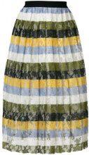 Essentiel Antwerp - striped floral lace skirt - women - Polyester - 38, 40, 42 - MULTICOLOUR