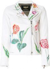 S.W.O.R.D 6.6.44 - flower print biker jacket - women - Leather/Polyester - 42, 44 - WHITE