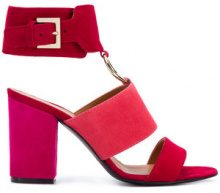 Via Roma 15 - ring detail heeled sandals - women - Leather/Suede - 36.5, 37, 38.5, 39, 40, 36, 37.5 - RED
