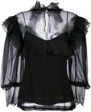Alberta Ferretti - Blusa trasparente - women - Acetate/Silk/other fibers/Polyamide - 42 - Nero