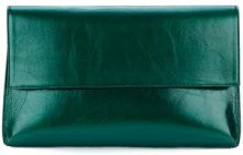 Christian Wijnants - large foldover clutch - women - Leather/Cotton - One Size - GREEN